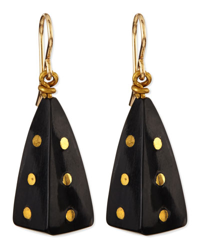 Doa Dark Horn Pyramid Dot Earrings