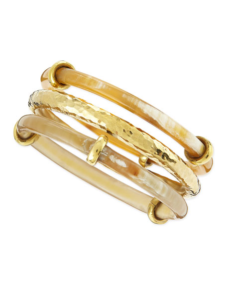 Karibu Light Horn & Bronze Bangles, Set of 3