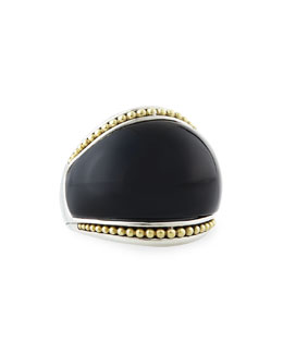 Lagos Silver Enso Smooth Dome Ring with 18k Gold