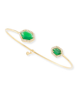 Tai Chrysoprase & Pave Crystal Pinch Bracelet