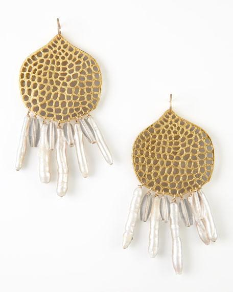 Clear Quartz & Pearl Branch Chandelier Earrings