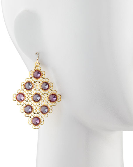 Pink Alexandrite Diamond-Shaped Chandelier Earrings
