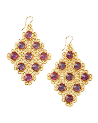 Pink Alexandrite Diamond-Shaped Chandelier Earrings