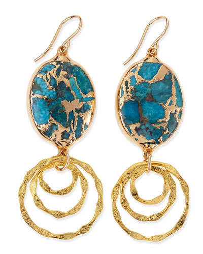 Blue Turquoise-Top Hoop-Drop Earrings