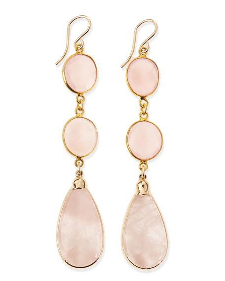 Rose Quartz 3-Drop Earrings