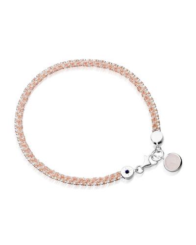 Woven Cord Bracelet with Quartz Charm, Pink