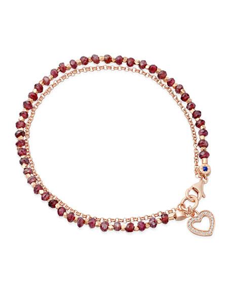 Red Spinel Heart Friendship Bracelet
