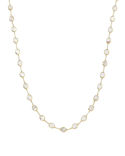"Polished Rock Candy 18k Gold Confetti Necklace 36"", Mother-of-Pearl"