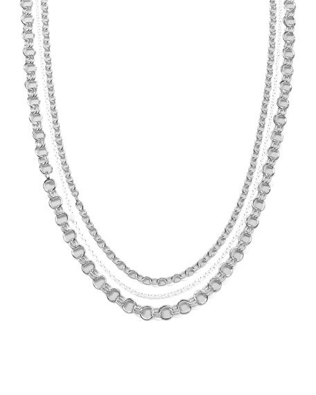 Sterling Silver Three-Strand Necklace, 37""