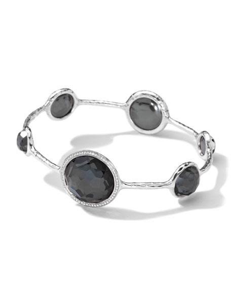 Sterling Silver Stella Bangle, Hematite Doublet & Diamonds