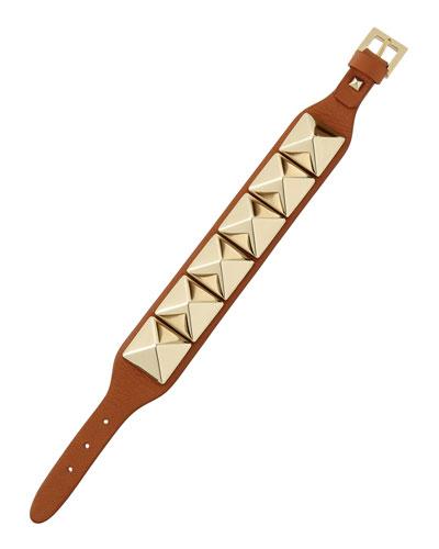 Medium Rockstud Leather Bracelet, Cognac