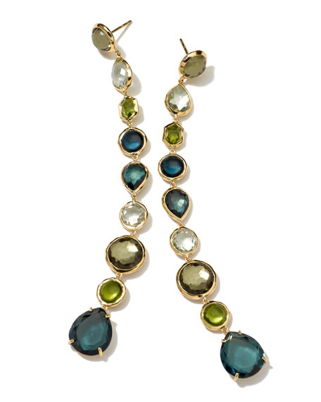 18k 9-Tier Gelato Earrings, Green/Blue