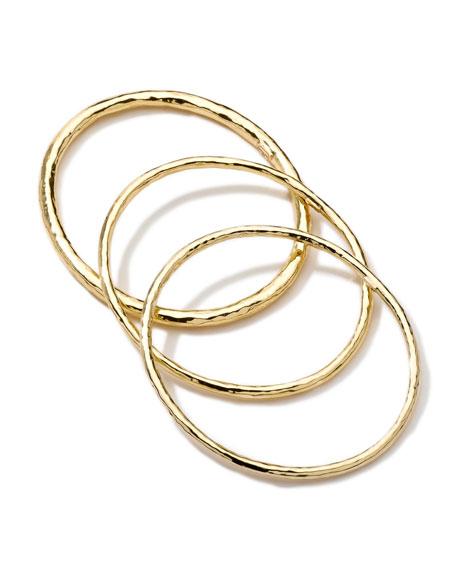 Hammered 18k Gold Bangles, Set of 3