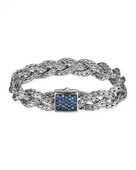 Classic Chain Small Braided Silver Bracelet, Blue Sapphire