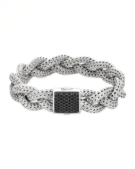 Classic Chain Medium Braided Silver Bracelet, Black Sapphire