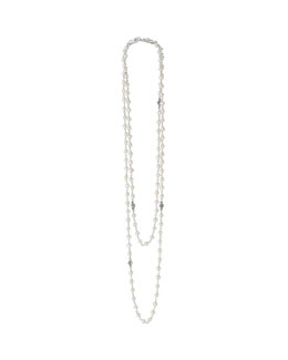 Lagos 3-4mm Pearl Necklace with Fluted Silver, 36""