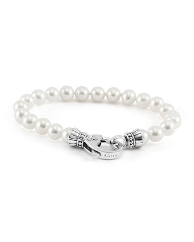 Lagos Silver Luna 7.5-8mm Pearl Bracelet