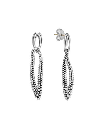 Lagos Oval Fluted & Caviar Link Earrings