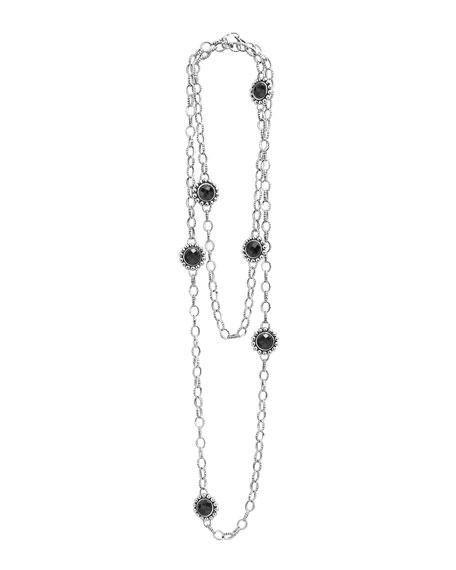 Silver Maya Black Onyx Station Necklace, 36