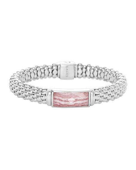 Silver Maya Rhodochrosite Rope Bracelet
