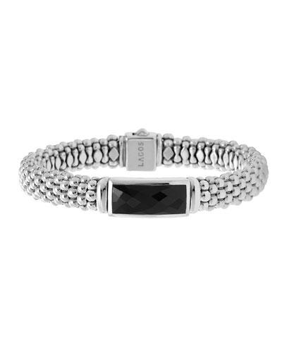 Lagos Silver Maya Black Onyx Rope Bracelet
