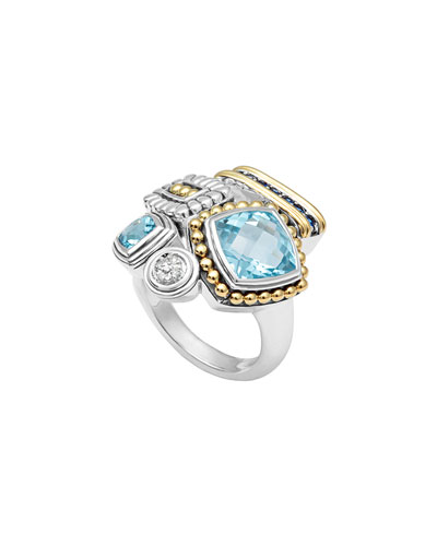 Montage Blue Stone & Diamond Ring, Size 7