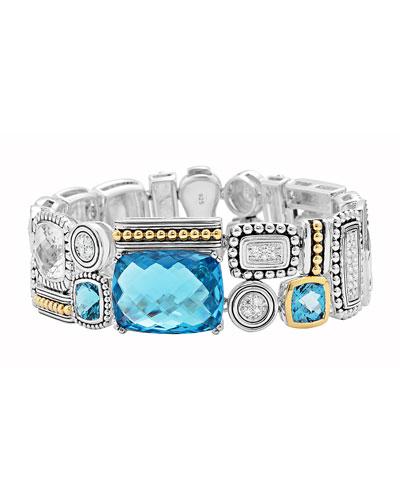 Lagos Montage Blue Stone & Diamond Bracelet