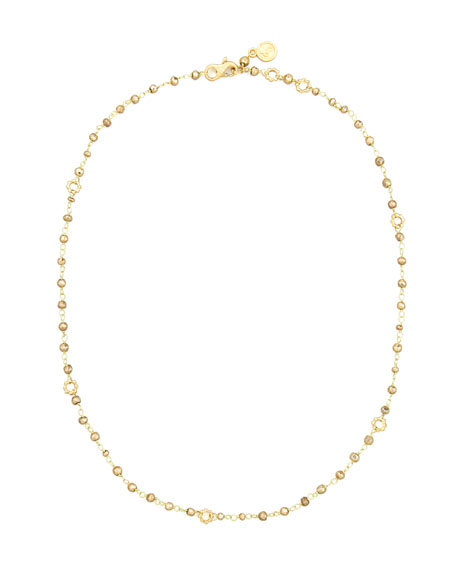 18k Yellow Gold Pyrite Delicate Bead Necklace, 20""
