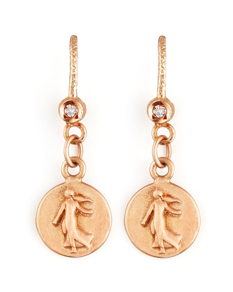 Goddess 18k Rose Gold Petite Coin Earrings