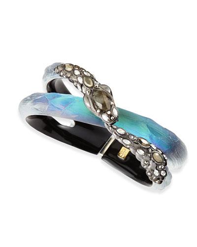 Alexis Bittar Crystal Snake & Lucite Bracelet, Black Beetle