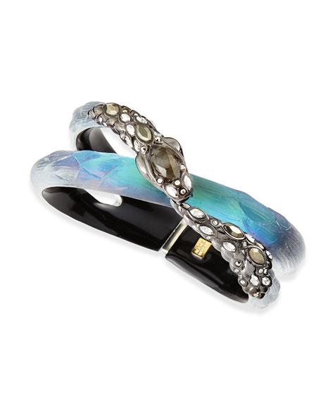 Crystal Snake & Lucite Bracelet, Black Beetle