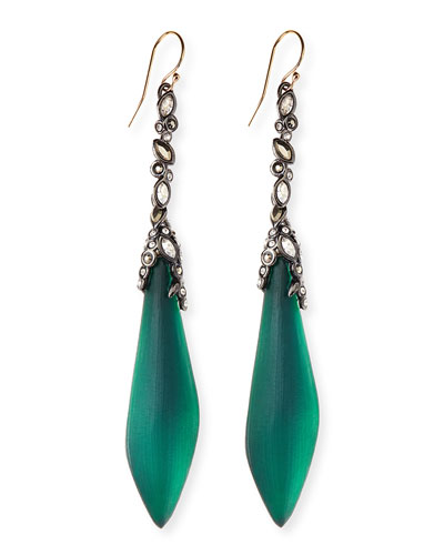 Alexis Bittar Crystal-Drop Lucite Earrings, Black Forest