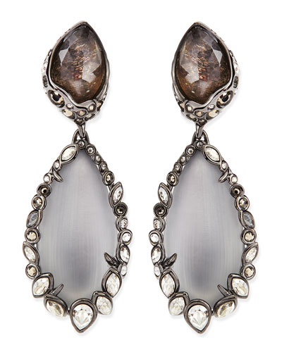 Alexis Bittar Crystal-Trim Lucite Clip-On Earrings, Gray