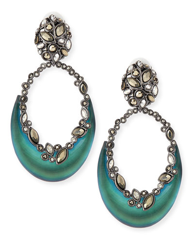 Alexis Bittar Lucite Crescent Clip-On Earrings, Black Beetle