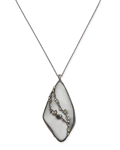 Alexis Bittar Lucite Reversible Crystal Pendant Necklace