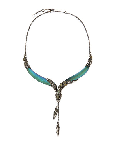 Alexis Bittar Lucite Snake Crystal Collar Necklace