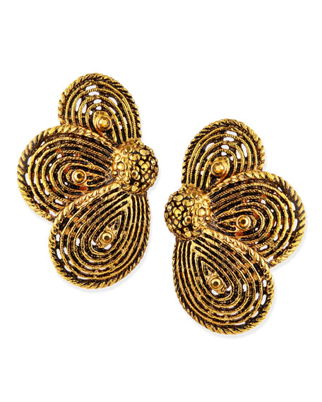 Golden Layered Flower Clip-On Earrings