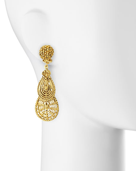 24k Plated Filigree Petal Clip-On Earrings