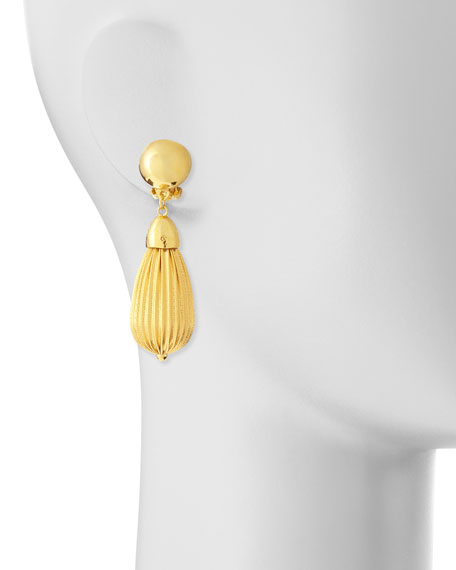 Fluted Gold Plate Teardrop Earrings