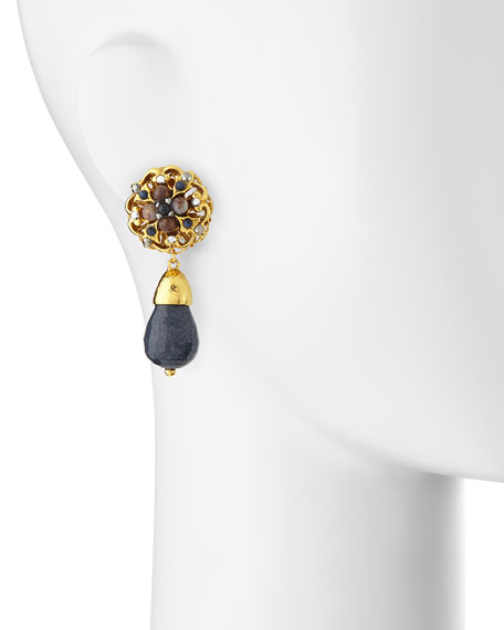 24k Plated Navy Jade Clip-On Earrings
