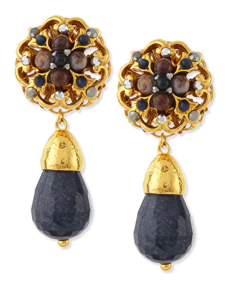 Jose & Maria Barrera 24k Plated Navy Jade Clip-On Earrings