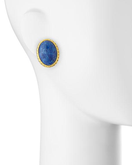 Oval Sodalite Button Clip-On Earrings