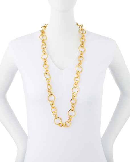 "Coronation 24k Gold Plate Large Necklace, 36""L"