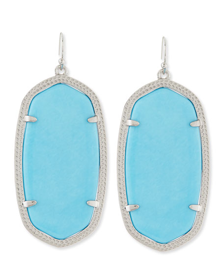 Danielle Rhodium Earrings, Turquoise-Color