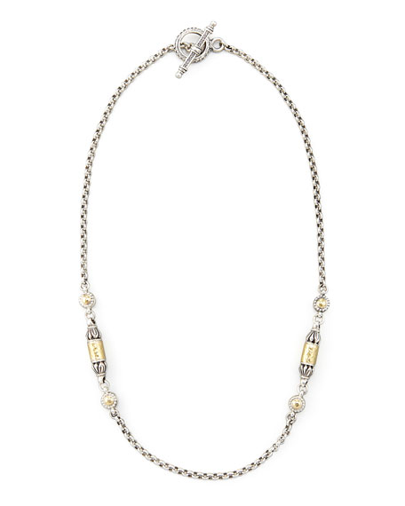 "Gold Bullet-Station Necklace, 18""L"