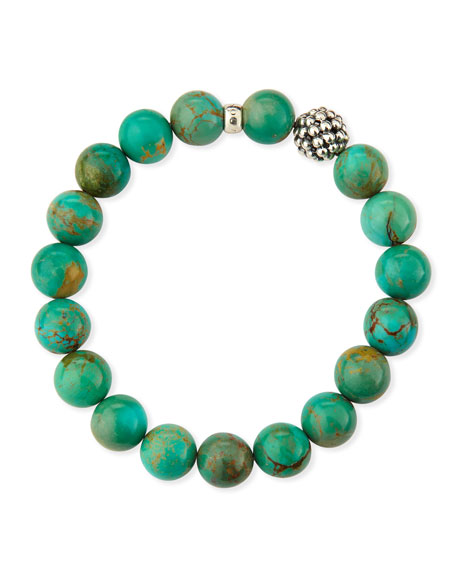 10mm Caviar-Ball Turquoise Beaded Stretch Bracelet