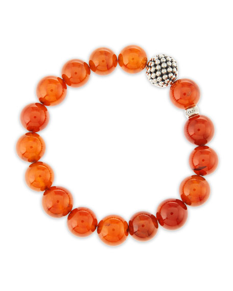 10mm Caviar-Ball Garnet Beaded Stretch Bracelet