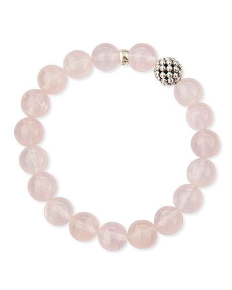 10mm Caviar-Ball Rose Quartz Beaded Stretch Bracelet