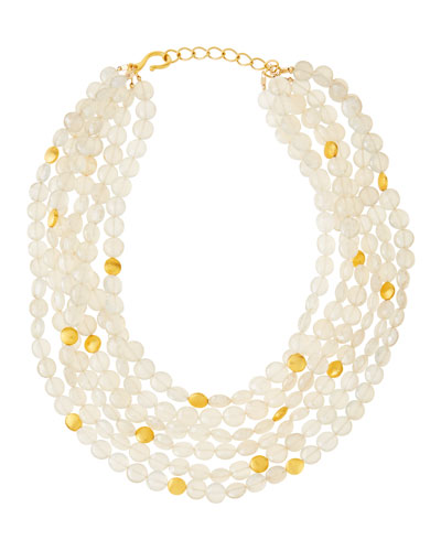 Pearlescent Moonstone Multi-Strand Necklace