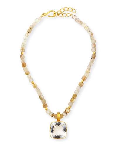 Rutilated Quartz Beaded Necklace
